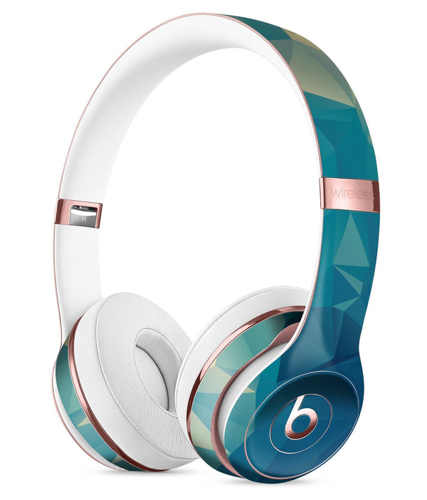 Abstract Aqua and Gold Geometric Shapes Full-Body Skin Kit for the Beats by Dre Solo 3 Wireless Headphones