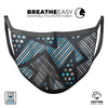 Abstract Black and Blue Overlap - Made in USA Mouth Cover Unisex Anti-Dust Cotton Blend Reusable & Washable Face Mask with Adjustable Sizing for Adult or Child