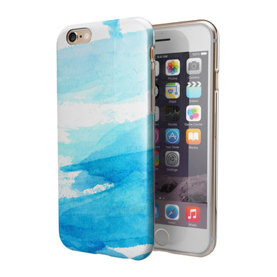 Abstract Blue Strokes iPhone 6/6s or 6/6s Plus 2-Piece Hybrid INK-Fuzed Case