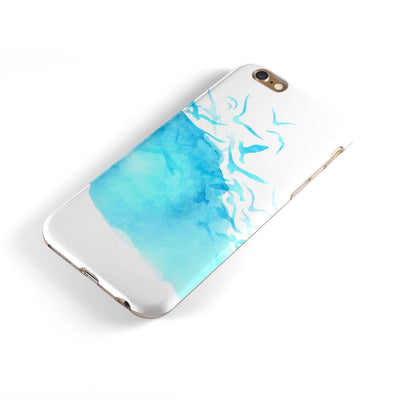 Abstract Blue Watercolor Seagull Swarm iPhone 6/6s or 6/6s Plus 2-Piece Hybrid INK-Fuzed Case