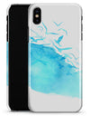 Abstract Blue Watercolor Seagull Swarm - iPhone X Clipit Case