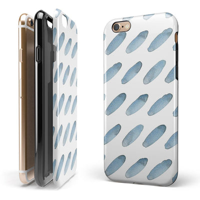 Abstract Blue Watercolor Strokes iPhone 6/6s or 6/6s Plus 2-Piece Hybrid INK-Fuzed Case