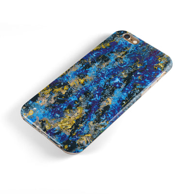 Abstract Blue Wet Paint iPhone 6/6s or 6/6s Plus 2-Piece Hybrid INK-Fuzed Case
