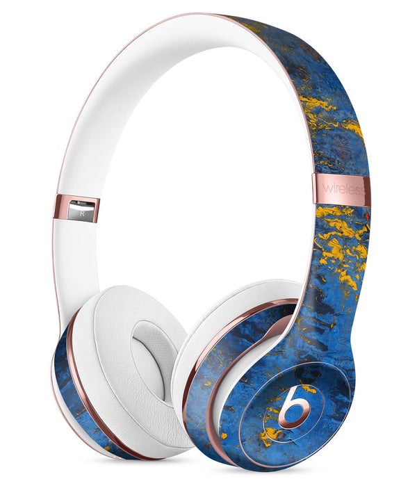 Abstract Blue and Gold Wet Paint Full-Body Skin Kit for the Beats by Dre Solo 3 Wireless Headphones