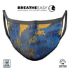 Abstract Blue and Gold Wet Paint - Made in USA Mouth Cover Unisex Anti-Dust Cotton Blend Reusable & Washable Face Mask with Adjustable Sizing for Adult or Child