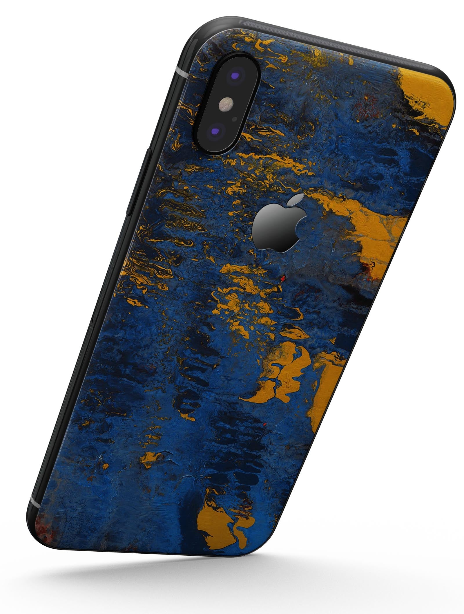 the latest 41a9e b4e66 Abstract Blue and Gold Wet Paint - iPhone X Skin-Kit
