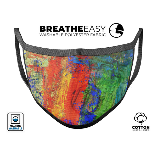 Abstract Bright Primary and Secondary Colored Oil Painting - Made in USA Mouth Cover Unisex Anti-Dust Cotton Blend Reusable & Washable Face Mask with Adjustable Sizing for Adult or Child