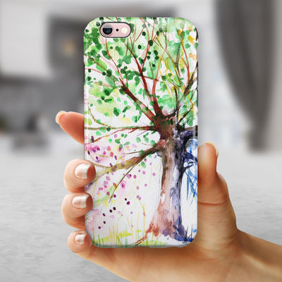 Abstract Colorful WaterColor Vivid Tree iPhone 6/6s or 6/6s Plus 2-Piece Hybrid INK-Fuzed Case
