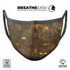 Abstract Dark Gray and Golden Specks - Made in USA Mouth Cover Unisex Anti-Dust Cotton Blend Reusable & Washable Face Mask with Adjustable Sizing for Adult or Child