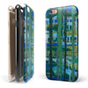 Abstract Green Plaid Paint Wall iPhone 6/6s or 6/6s Plus 2-Piece Hybrid INK-Fuzed Case