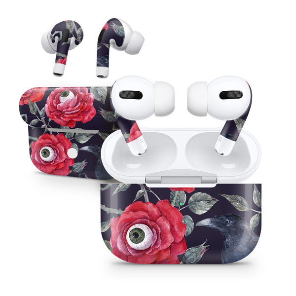 Abstract Roses with Eyes - Full Body Skin Decal Wrap Kit for the Wireless Bluetooth Apple Airpods Pro, AirPods Gen 1 or Gen 2 with Wireless Charging
