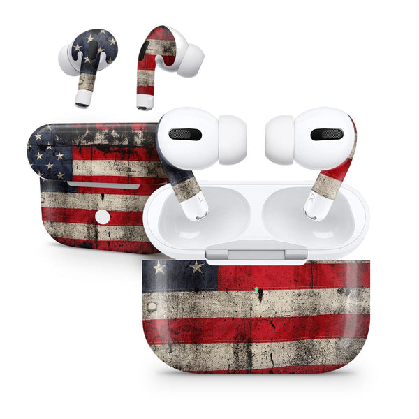 American Distressed Flag Panel - Full Body Skin Decal Wrap Kit for the Wireless Bluetooth Apple Airpods Pro, AirPods Gen 1 or Gen 2 with Wireless Charging