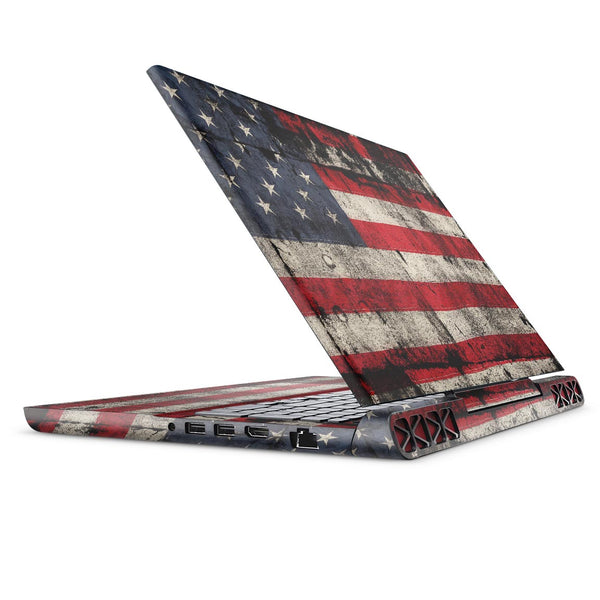 American Distressed Flag Panel - Full Body Skin Decal Wrap Kit for the Dell Inspiron 15 7000 Gaming Laptop (2017 Model)