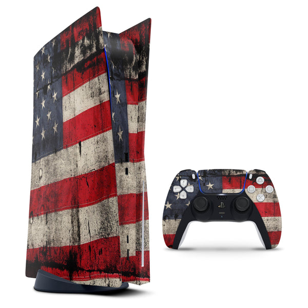 American Distressed Flag Panel - Full Body Skin Decal Wrap Kit for Sony Playstation 5, Playstation 4, Playstation 3, & Controllers
