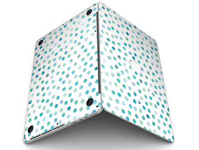 Aqua Watercolor Dots over White - MacBook Pro with Retina Display Full-Coverage Skin Kit