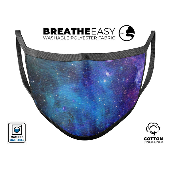 Azure Nebula - Made in USA Mouth Cover Unisex Anti-Dust Cotton Blend Reusable & Washable Face Mask with Adjustable Sizing for Adult or Child