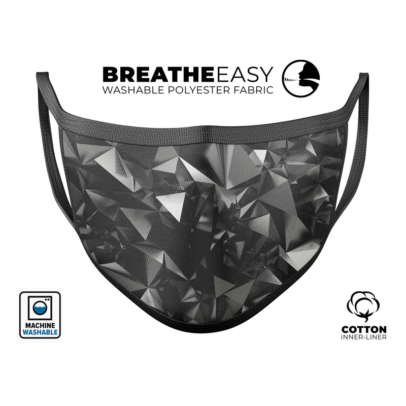 Black 3D Diamond Surface - Made in USA Mouth Cover Unisex Anti-Dust Cotton Blend Reusable & Washable Face Mask with Adjustable Sizing for Adult or Child