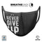 Black Hammered Never Give Up - Made in USA Mouth Cover Unisex Anti-Dust Cotton Blend Reusable & Washable Face Mask with Adjustable Sizing for Adult or Child