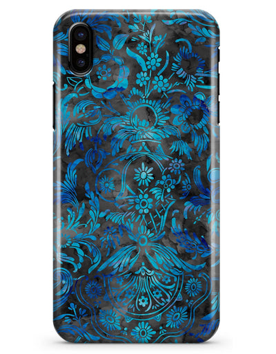 Black and Blue Damask Watercolor Pattern - iPhone X Clipit Case