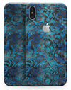 Black and Blue Damask Watercolor Pattern - iPhone X Skin-Kit