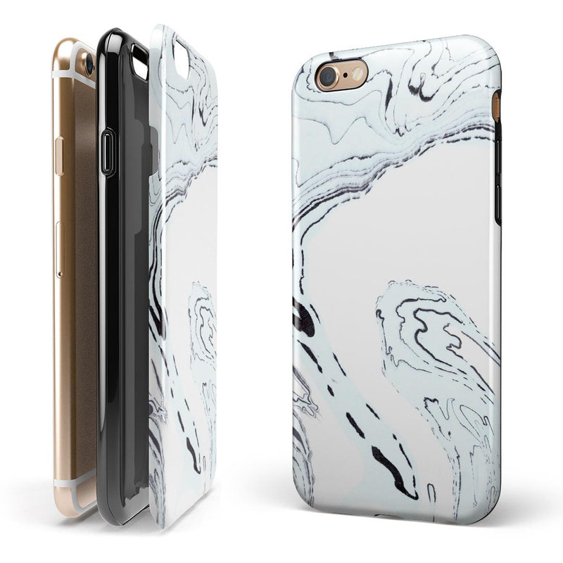 Blue 19 Textured Marble iPhone 6/6s or 6/6s Plus 2-Piece Hybrid INK-Fuzed Case
