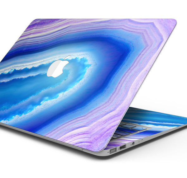 "Blue & Purple Hue Agate - Skin Decal Wrap Kit Compatible with the Apple MacBook Pro, Pro with Touch Bar or Air (11"", 12"", 13"", 15"" & 16"" - All Versions Available)"
