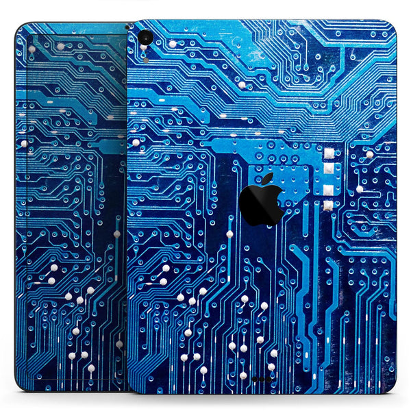 "Blue Cirtcuit Board V1 - Full Body Skin Decal for the Apple iPad Pro 12.9"", 11"", 10.5"", 9.7"", Air or Mini (All Models Available)"