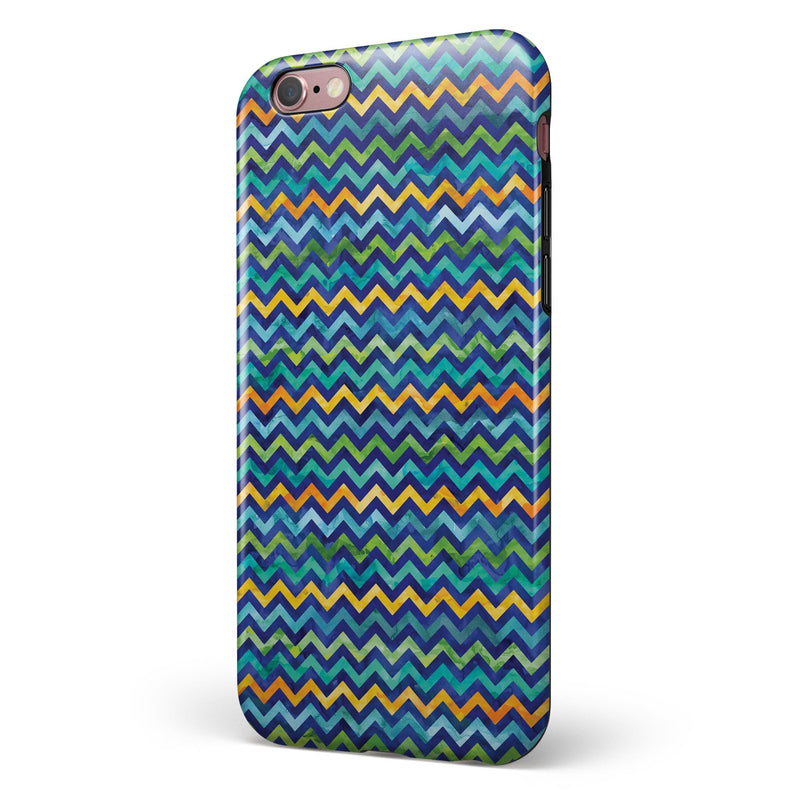 Blue GreenYellow and Orange Watercolor Chevron Pattern iPhone 6/6s or 6/6s Plus 2-Piece Hybrid INK-Fuzed Case