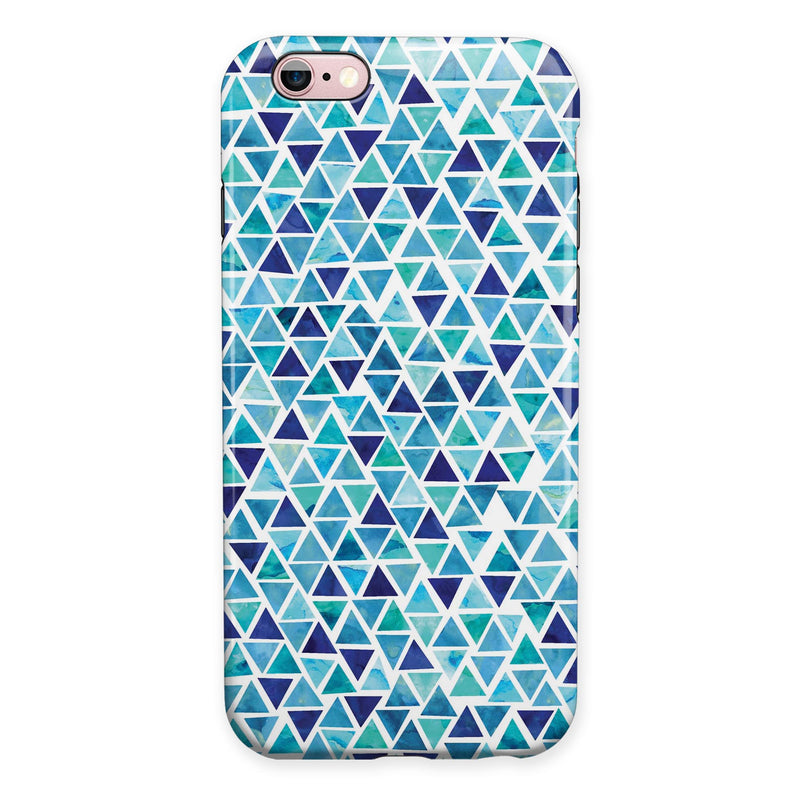 Blue Watercolor Triangle Pattern iPhone 6/6s or 6/6s Plus 2-Piece Hybrid INK-Fuzed Case