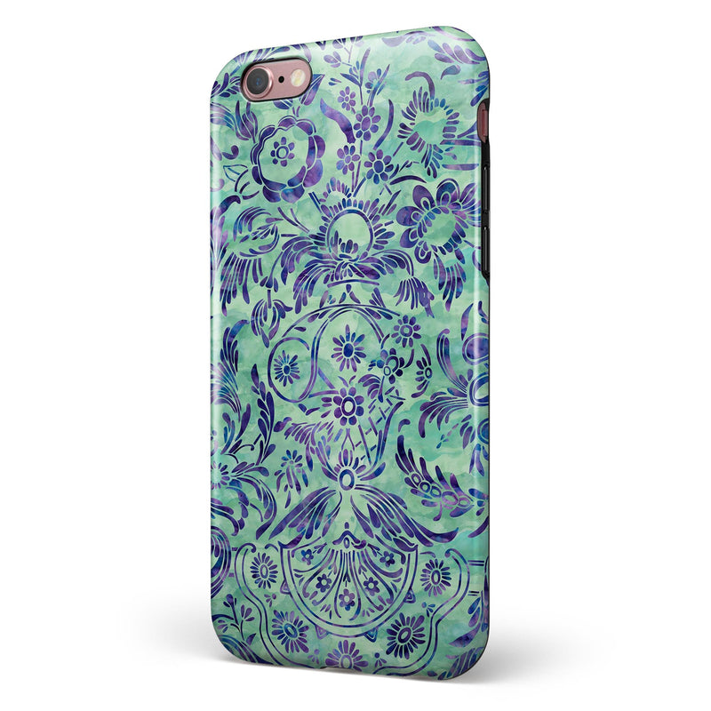 Blue and Green Damask Watercolor Pattern iPhone 6/6s or 6/6s Plus 2-Piece Hybrid INK-Fuzed Case