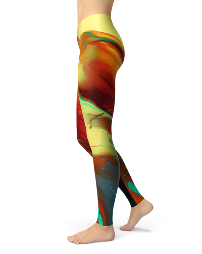Blurred Abstract Flow V36 - All Over Print Womens Leggings / Yoga or Workout Pants