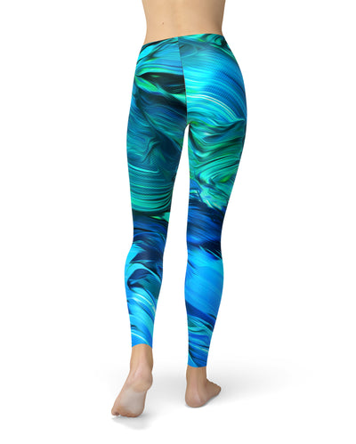 Blurred Abstract Flow V40 - All Over Print Womens Leggings / Yoga or Workout Pants