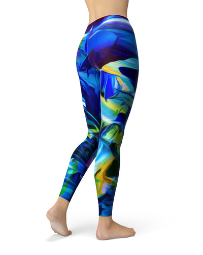 Blurred Abstract Flow V53 - All Over Print Womens Leggings / Yoga or Workout Pants
