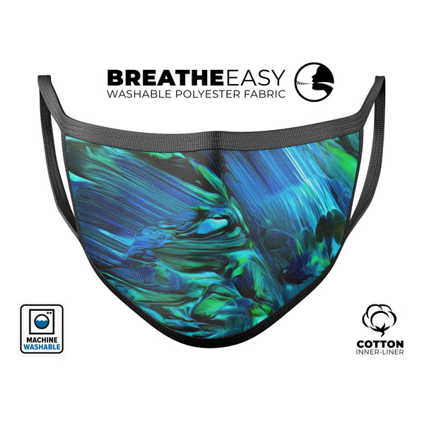 Blurred Abstract Flow V8 - Made in USA Mouth Cover Unisex Anti-Dust Cotton Blend Reusable & Washable Face Mask with Adjustable Sizing for Adult or Child