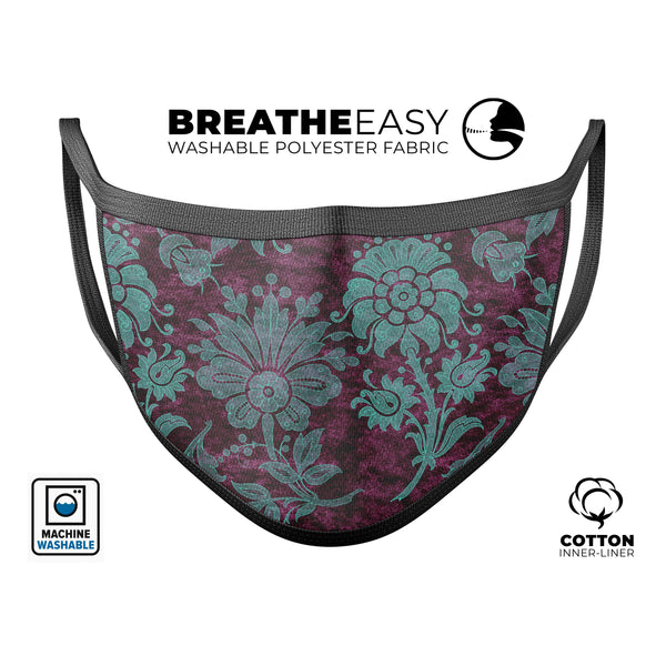 Burgundy and Turquoise Floral Velvet v3 - Made in USA Mouth Cover Unisex Anti-Dust Cotton Blend Reusable & Washable Face Mask with Adjustable Sizing for Adult or Child