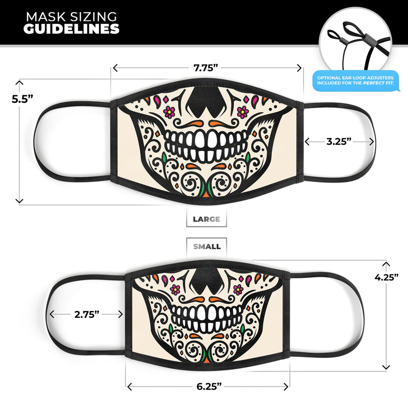 Cartoon Sugar Skull V2 - Made in USA Mouth Cover Unisex Anti-Dust Cotton Blend Reusable & Washable Face Mask with Adjustable Sizing for Adult or Child