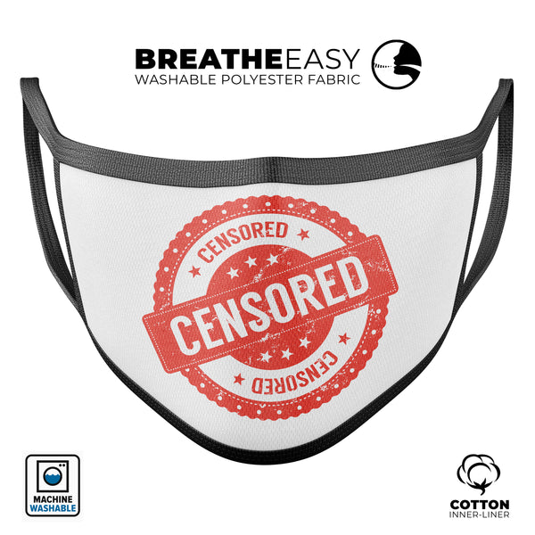 Censored - Made in USA Mouth Cover Unisex Anti-Dust Cotton Blend Reusable & Washable Face Mask with Adjustable Sizing for Adult or Child