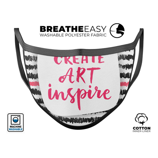 Create Art Inspire - Made in USA Mouth Cover Unisex Anti-Dust Cotton Blend Reusable & Washable Face Mask with Adjustable Sizing for Adult or Child