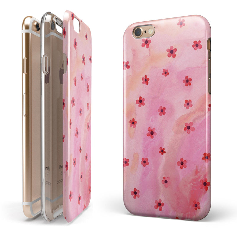 Cute Watercolor Flowers over Pink iPhone 6/6s or 6/6s Plus 2-Piece Hybrid INK-Fuzed Case