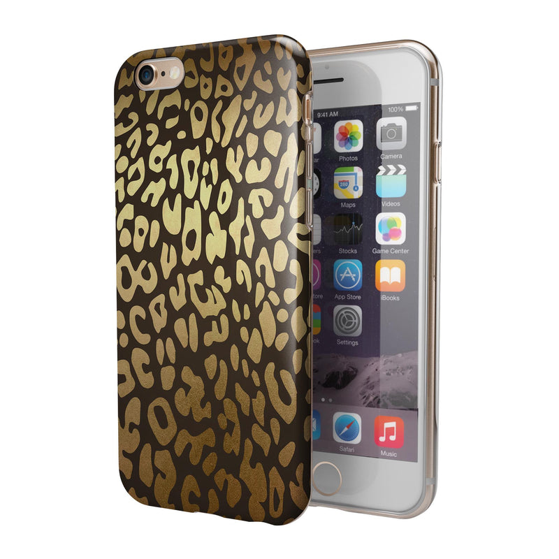 Dark Gold Flaked Animal v3 iPhone 6/6s or 6/6s Plus 2-Piece Hybrid INK-Fuzed Case