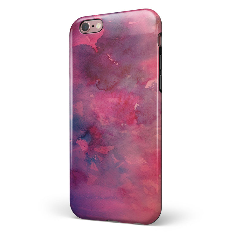 Dark Pink 53 Absorbed Watercolor Texture iPhone 6/6s or 6/6s Plus 2-Piece Hybrid INK-Fuzed Case