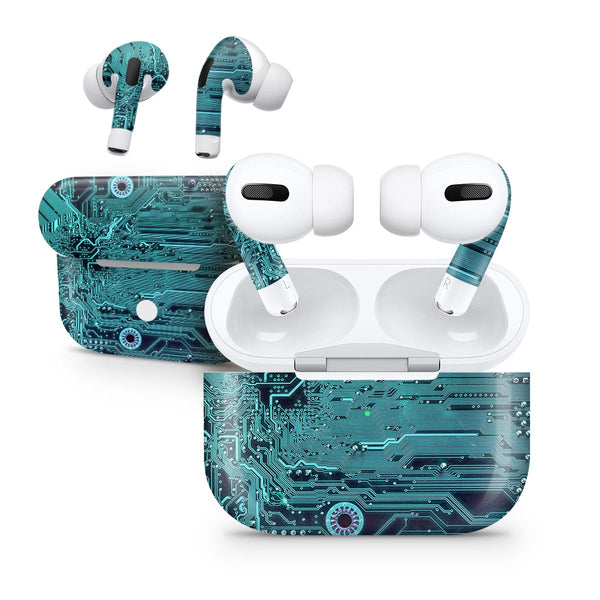 Electric Circuit Board V5 - Full Body Skin Decal Wrap Kit for the Wireless Bluetooth Apple Airpods Pro, AirPods Gen 1 or Gen 2 with Wireless Charging
