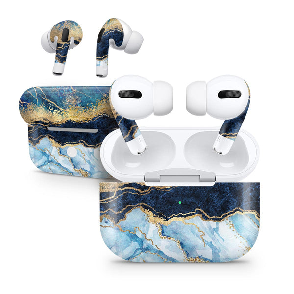 Foiled Marble Agate - Full Body Skin Decal Wrap Kit for the Wireless Bluetooth Apple Airpods Pro, AirPods Gen 1 or Gen 2 with Wireless Charging