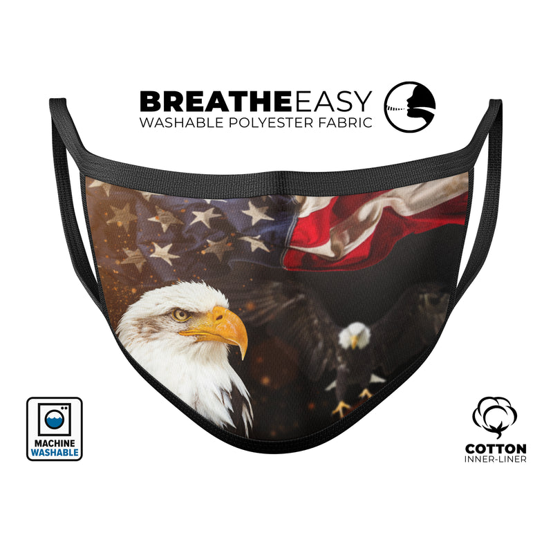Freedom Eagle - Made in USA Mouth Cover Unisex Anti-Dust Cotton Blend Reusable & Washable Face Mask with Adjustable Sizing for Adult or Child