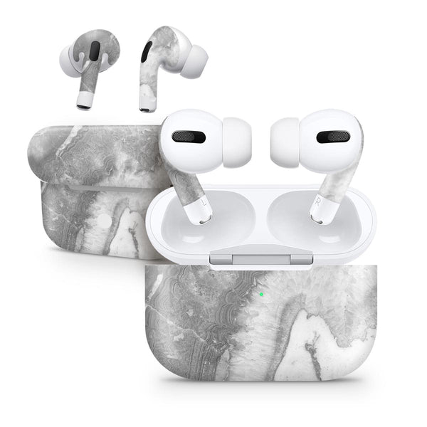 Gray Slate Marble V26 - Full Body Skin Decal Wrap Kit for the Wireless Bluetooth Apple Airpods Pro, AirPods Gen 1 or Gen 2 with Wireless Charging