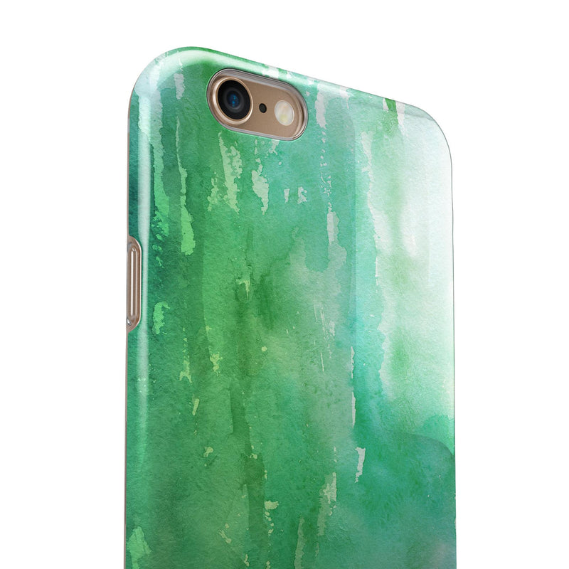 Green 2 Absorbed Watercolor Texture iPhone 6/6s or 6/6s Plus 2-Piece Hybrid INK-Fuzed Case