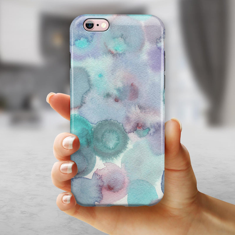 Green Blotted WaterColor Texture iPhone 6/6s or 6/6s Plus 2-Piece Hybrid INK-Fuzed Case