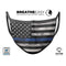 Grunge Patriotic American Flag with Thin Blue Line V3 - Made in USA Mouth Cover Unisex Anti-Dust Cotton Blend Reusable & Washable Face Mask with Adjustable Sizing for Adult or Child