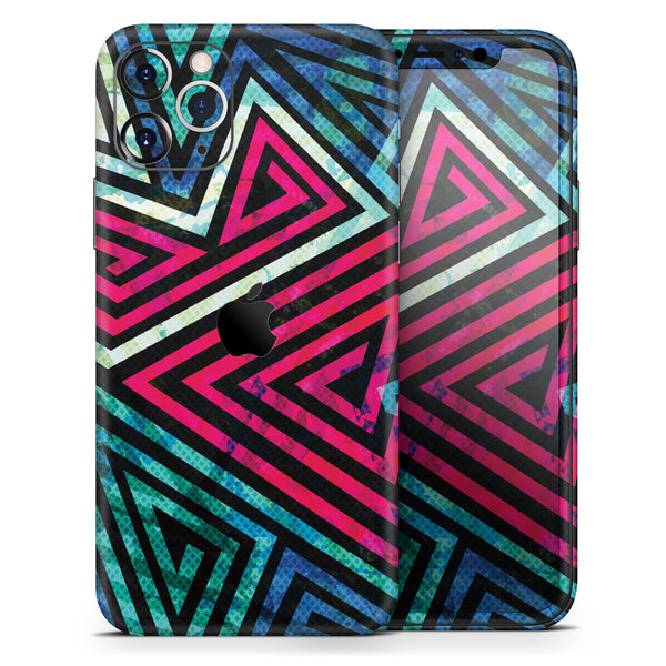 Grungy Neon Triangular Zig Zag Shapes - Skin-Kit compatible with the Apple iPhone 12, 12 Pro Max, 12 Mini, 11 Pro or 11 Pro Max (All iPhones Available)