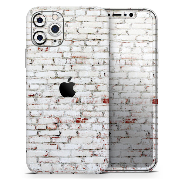 Grungy Red & White Brick Wall - Skin-Kit compatible with the Apple iPhone 12, 12 Pro Max, 12 Mini, 11 Pro or 11 Pro Max (All iPhones Available)